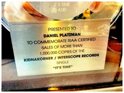 Daniel Platzman Platinum Record with Imagine Dragons