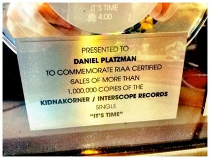 Daniel Platzman Platinum Record with Imagine Dragons